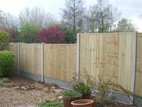 Close board panels with slotted concrete posts