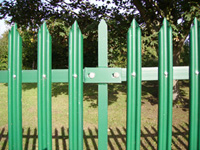 Green powder coated steel palisade fencing